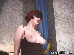 Sexy busty ginger slut gets her tits