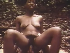 Black Girl Sucks and Rides White Cock in Woods 1960