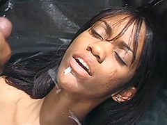 Ebony Couple in a Dark Room Fucking on an Ebony Leather Couch and Girl's Ebony Pussy is Hairy