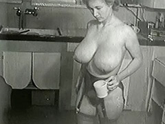 Cleaning House in Sexy Big Tits Stockings 1950 tube porn video