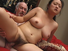 Asian Amateur with a very Big Bush is Being Used by an Old Man who Gives His Cock for Sucking and then Uses Condom to Fuck Her tube porn video