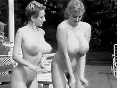 Two Busty Girls Shaking Boobs in Pool 1960 tube porn video