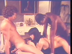Juicy Interracial Threesome on Massage Table 1970