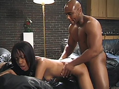 Black Couple in a Dark Room Fucking on a Black Leather Sofa and Girl's Black Pussy is Hairy