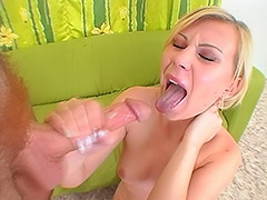 Young Slavic Blonde Girl with Never Shaven Unshaven Cunt Smokes Cock and Fucks for the First Time on Cam