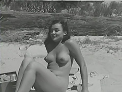 Blonde Sunbathing Hairy Naturist Girl 1950 porn tube video