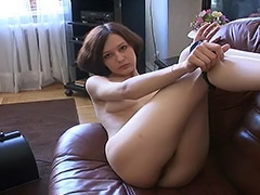 Lonely Russian Teen Plays with Fucking Machine to Bring Her Hairy Pussy some Pleasure tube porn video