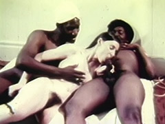 Young White Teen Girl with two Older Black Dudes 1970 tube porn video