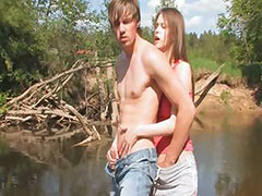 Young couple intercourse by the lake tube porn video