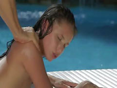 Poolside passion with hot darkhair babe tube porn video