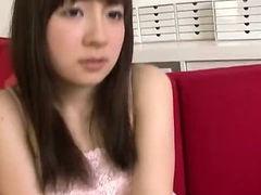 Hitomi Fujihara gets horny watching porn and masturbates