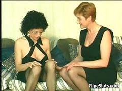 Two hot and horny mature sluts fuck