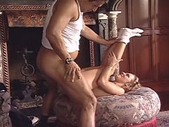 Coed spreads legs for older guy