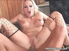 Superb blonde hot MILF smokes big cocks