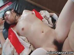 Cute asian brunette hoe sucks hard cock part6