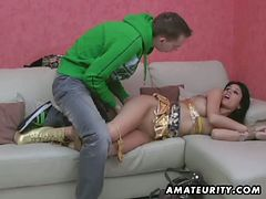 Horny amateur brunette tied for hardcore fucking