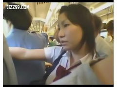 busty anthomaniac schoolgirl in train gives geek handjob