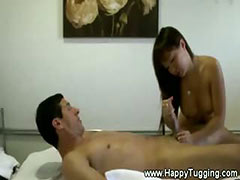 Horny asian slut loves sucking cock during her massages