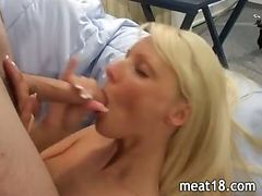 Blonde takes a cock in her hungry pussy