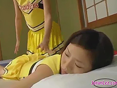 Asian Lesbian Cheerleader Rubbed tube porn video