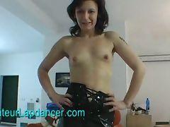 Czech lady lapdances in latex