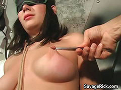 Giselle tied up and her tits tormented