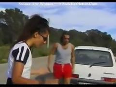Cute cyclist fucks a good samaritan