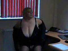 Big Titted Blonde BBW dildos in office chair tube porn video