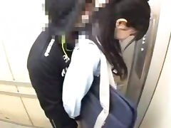 Schoolgirls groped in a school elevator porn tube video