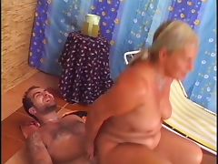Gorgeous granny rimms and fucks a guy tube porn video