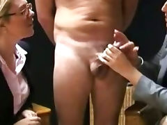 CFNM ladies are milking off a cock
