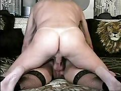 Older Gent licks his cum out of her ass