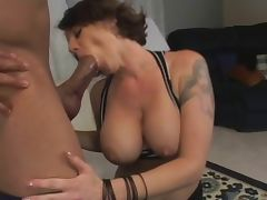 Chubby MILF with massive tits fucks and sucks tube porn video