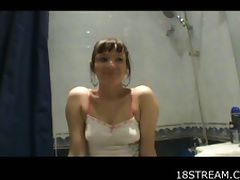 Brunette's nice bathroom screwing