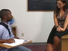 Brunette teacher seduced by black cock tube porn video
