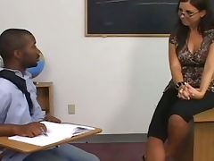 Brunette teacher seduced by black cock