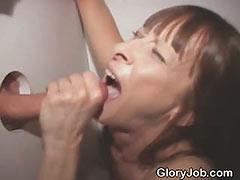 Dirty Brunette Amateur Cock Slut Sucking At Glory Hole
