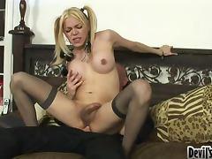 Transsexual blondie Paris gets banged and fucks him back