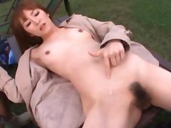 Stunning Miku Ohashi Asian blows and rides two big dicks outdoors porn tube video