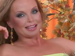 Silvia Saint toys her tight pussy with big dildo tube porn video