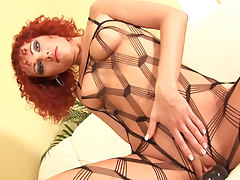 Bodystocking, Bodystocking, Boobs, Curly, Fishnet, Heels