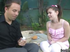 Angel Cakes the hot babe with pigtails sucking and fucking outdoors