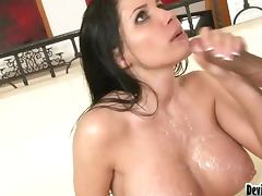 Busty brunette sweats while riding that huge cock