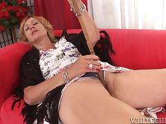 Lady the slutty granny gets her old pussy fucked by young cock