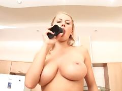 Hot blonde named Busty loves to show her gaping asshole