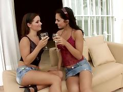 Two brunettes are fucking each other at the date