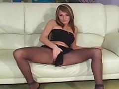 Beautiful girl pantyhose and heels tease