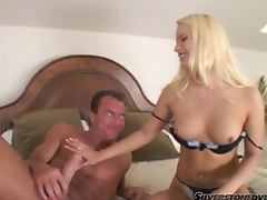 Saana the pretty blonde babe sucking and riding a cock