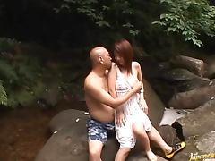 Meguru Kosaka loves giving tit fucks outdoors