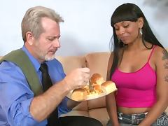 Pretty ebony chick Porscha Carrera seduces and fucks an elderly guy